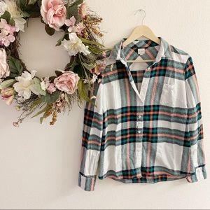 J. Crew Rock Salt Plaid Flannel Perfect Shirt